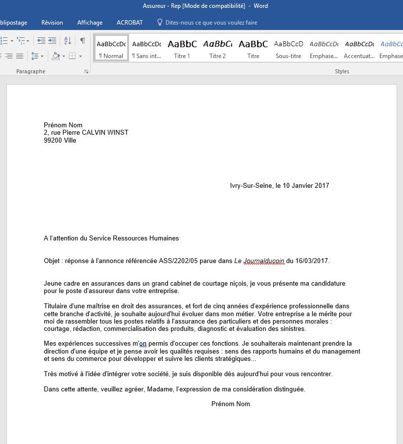 Lettre de motivation assureur mission locale - Lettre motivation cabinet recrutement ...