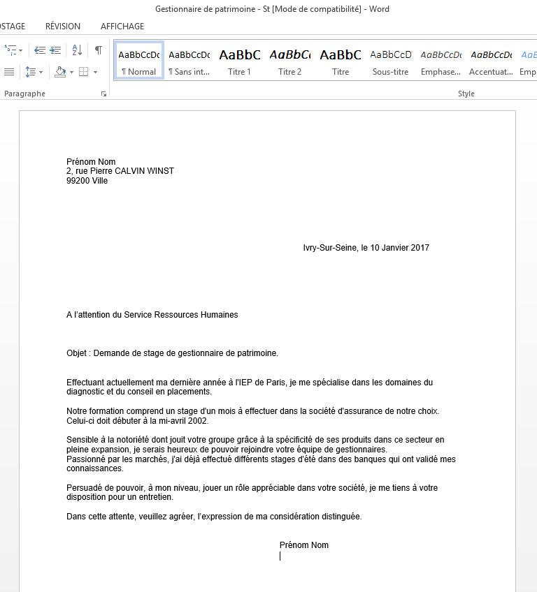 demande de stage de gestionnaire de patrimoine  u2013 mission