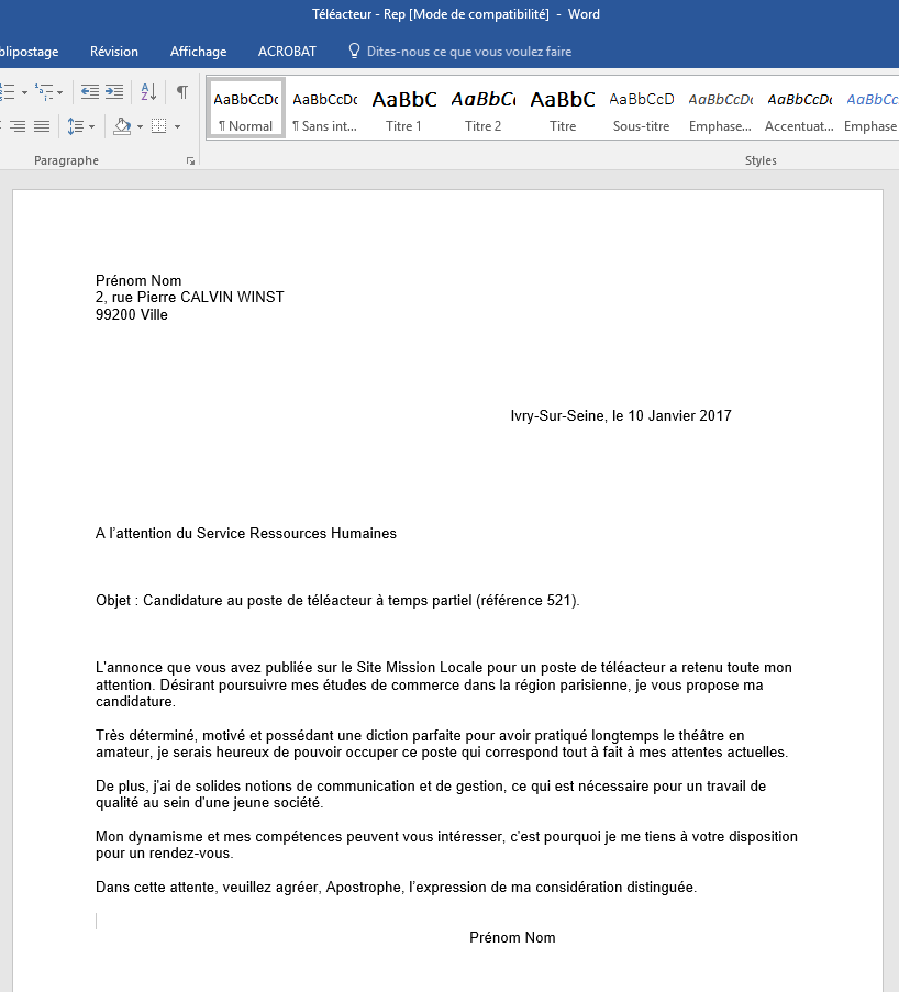 lettre de motivation poste de t u00e9l u00e9acteur  u2013 mission locale
