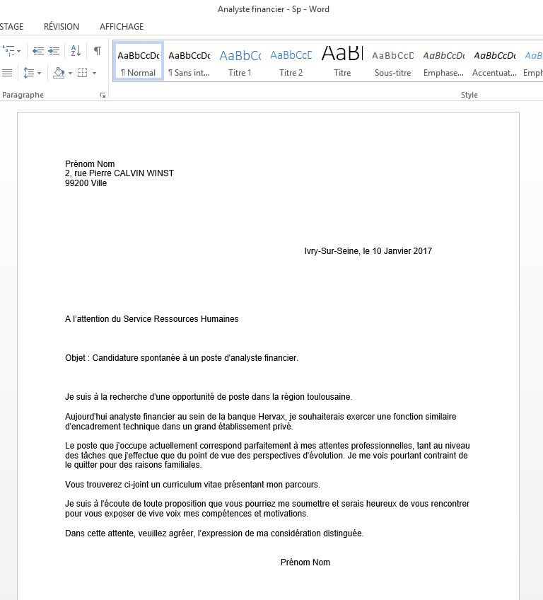 candidature spontan u00e9e analyste financier