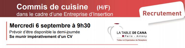 Commis de cuisine h f mission locale for Offre d emploi commis de cuisine paris