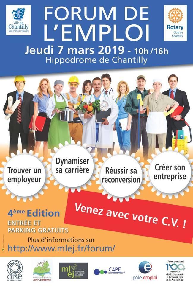 FORUM DE L'EMPLOI - Jeudi 7 Mars 2019 à hippodrome de Chantilly